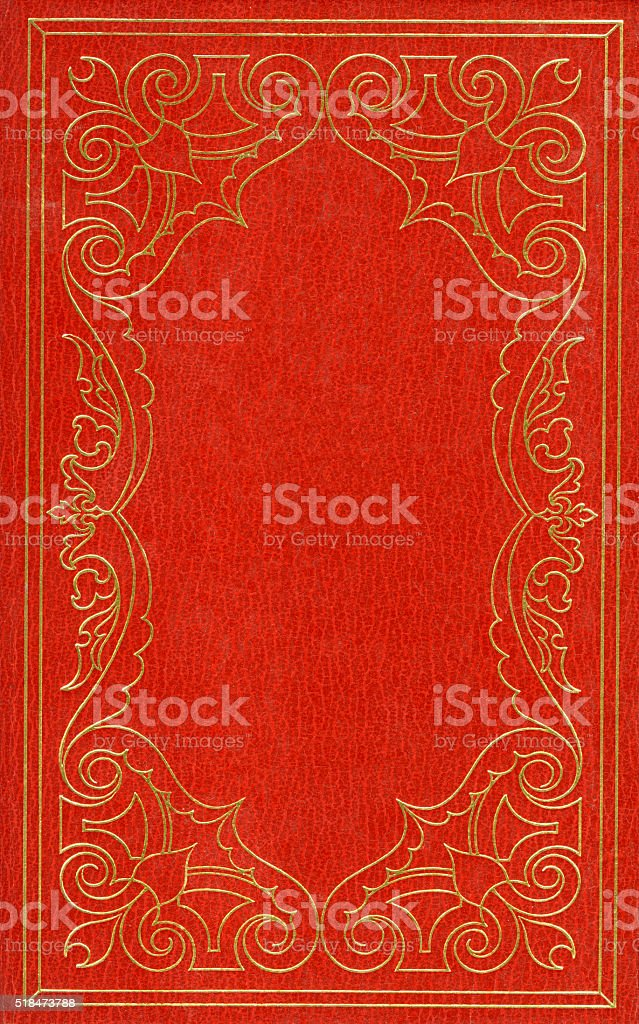 Red and golden leather cover stock photo