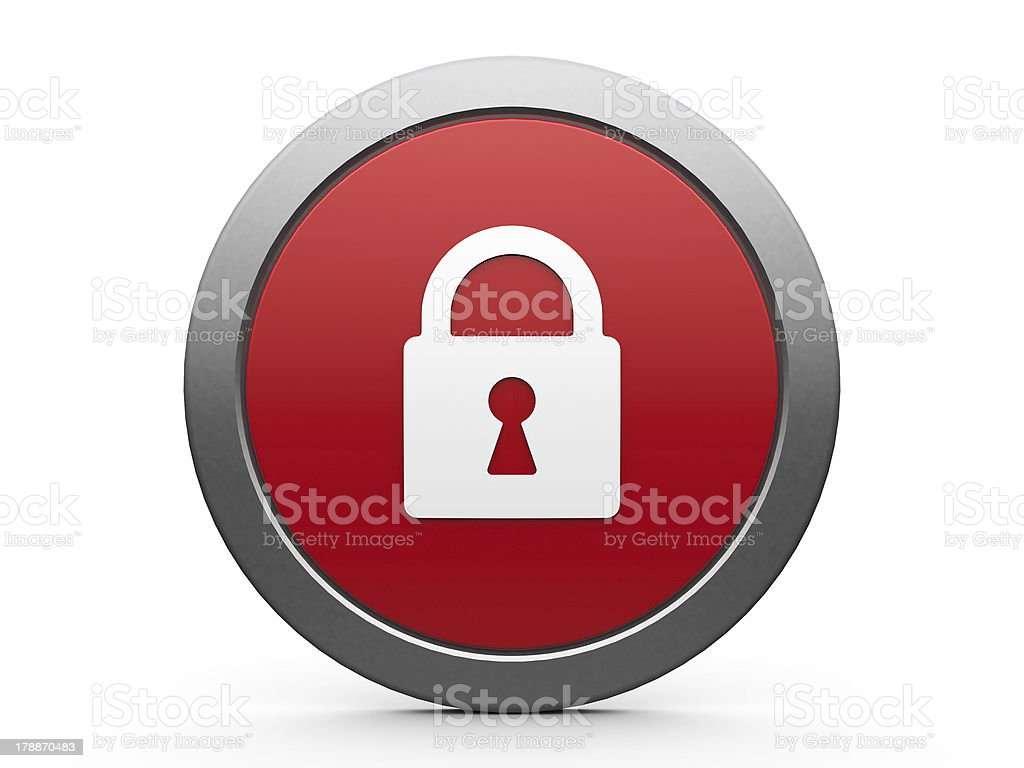 A red and gray security icon with a lock royalty-free stock photo