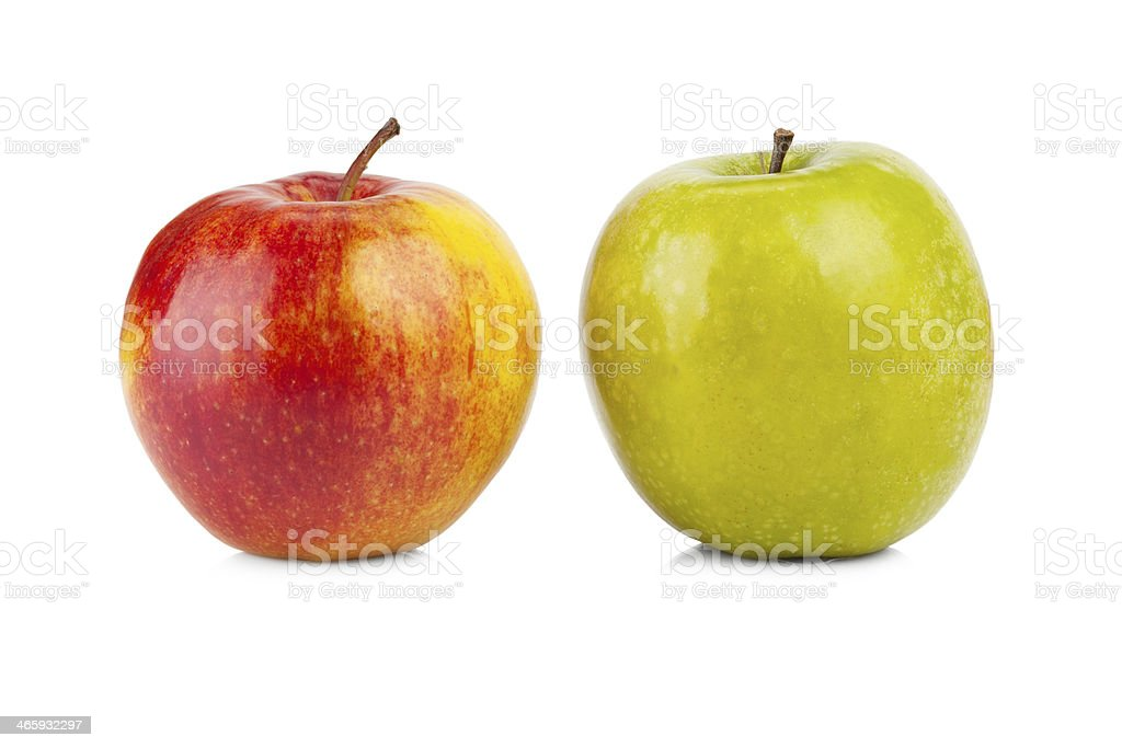 Red and green apples isolated stock photo
