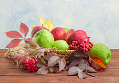 Red and green apples on sackcloth in wicker basket