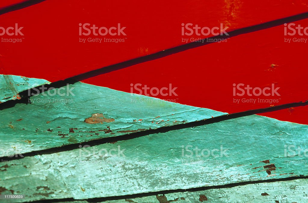 Red and Green Boat Hull, Wood, Lapstrake, Pattern, Background royalty-free stock photo