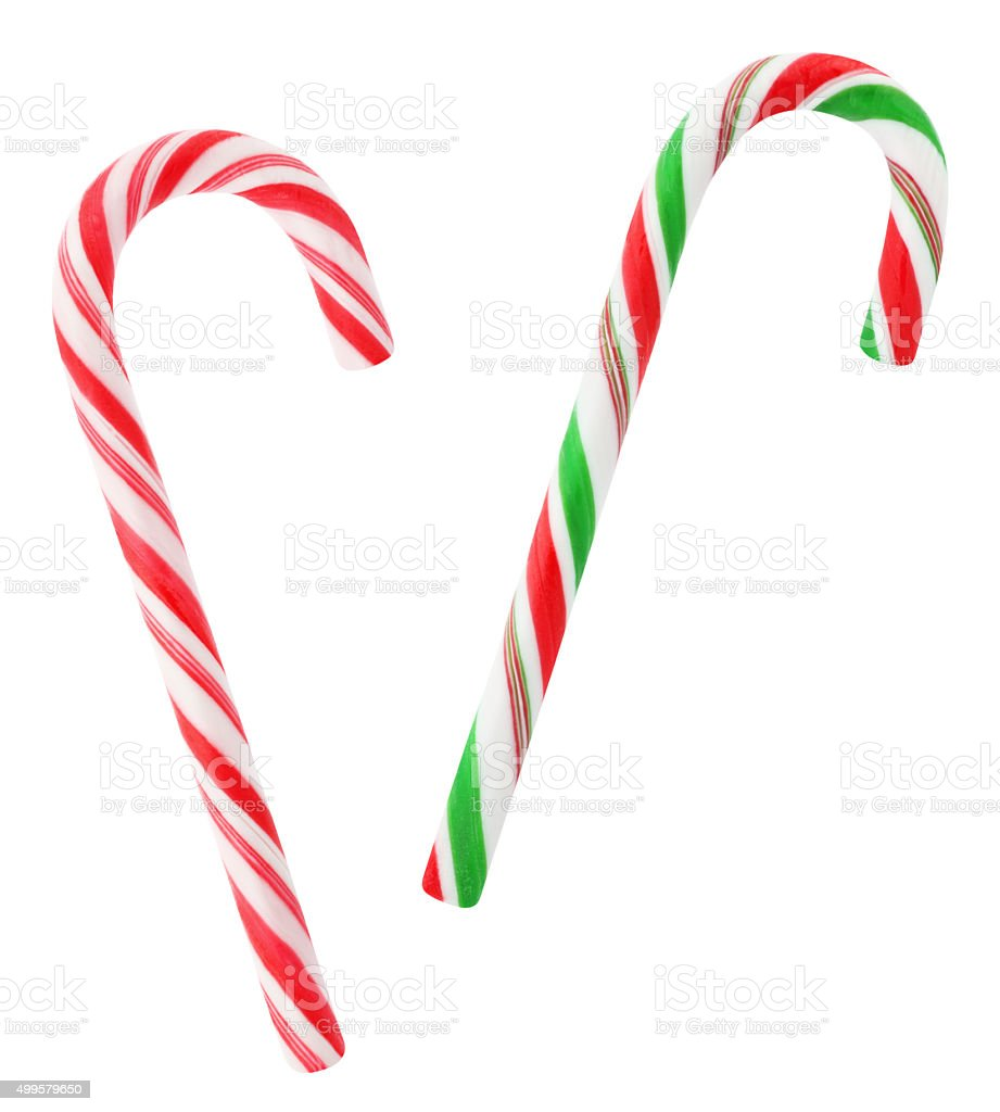 Red and green candy canes (with path) stock photo