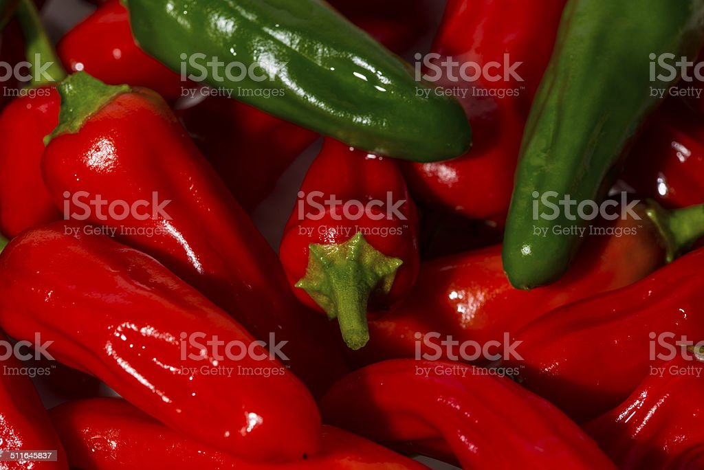 Red and green chilli peppers royalty-free stock photo