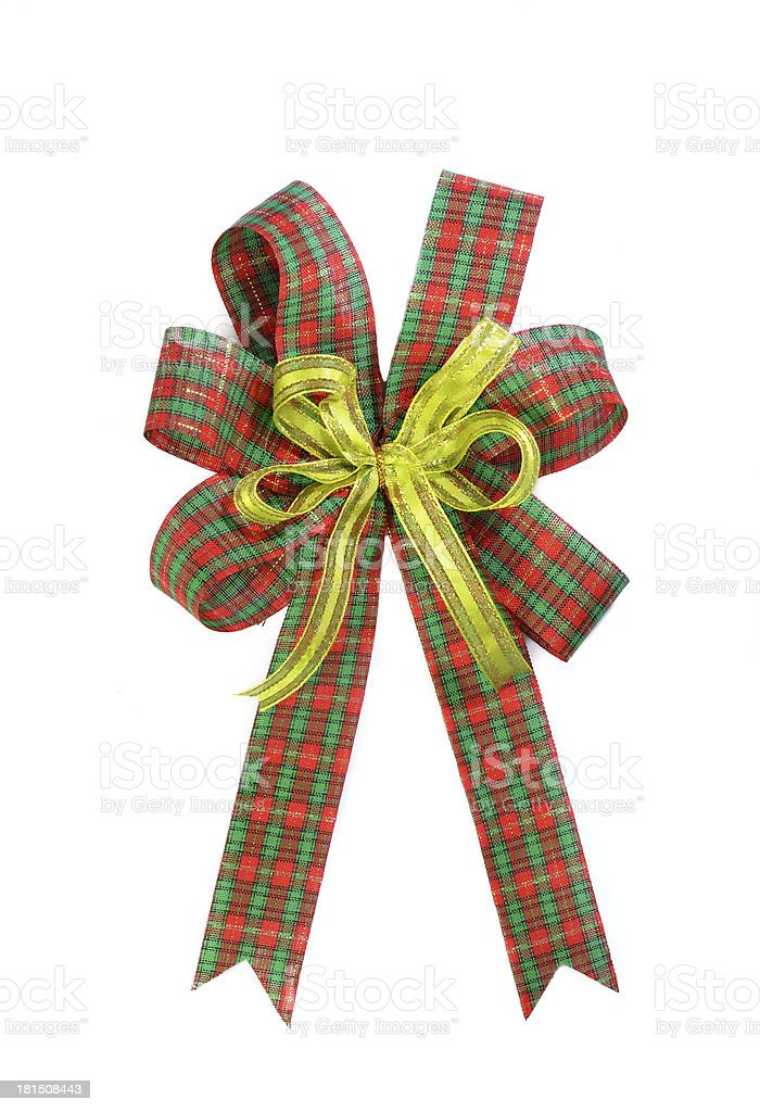 Red and green Christmas gift plaid bow stock photo