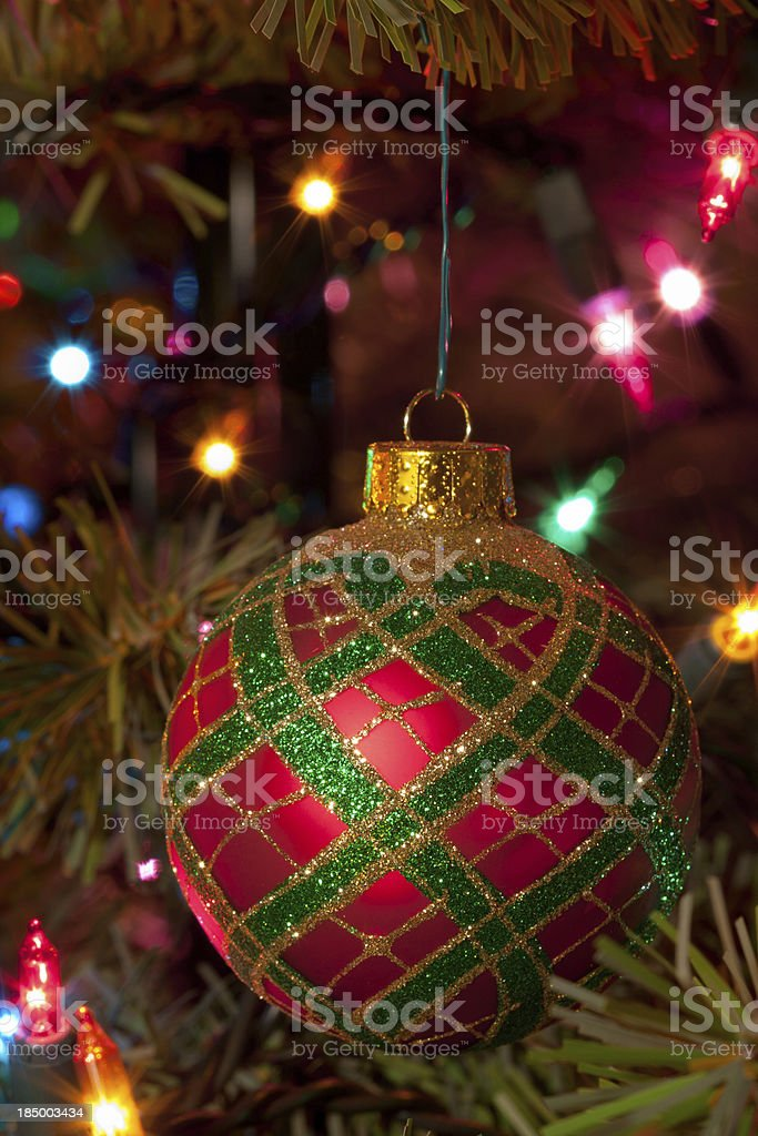 Red and Green Christmas Ornament stock photo