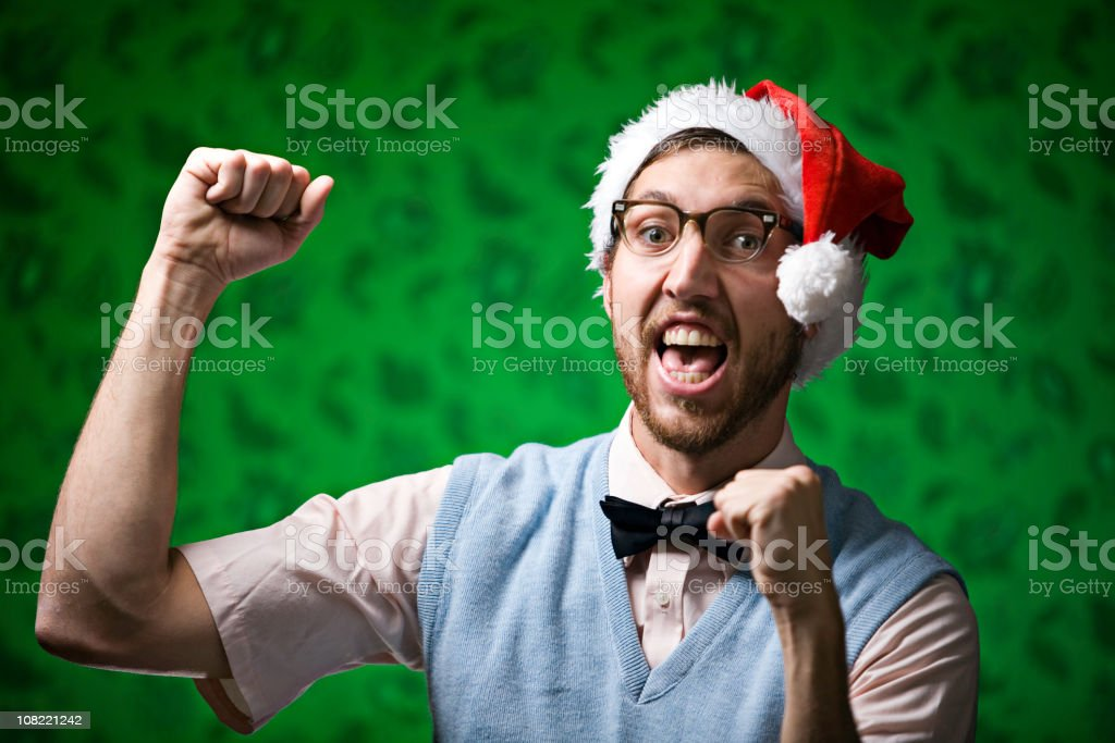 Red and Green Dancing Christmas Nerd stock photo