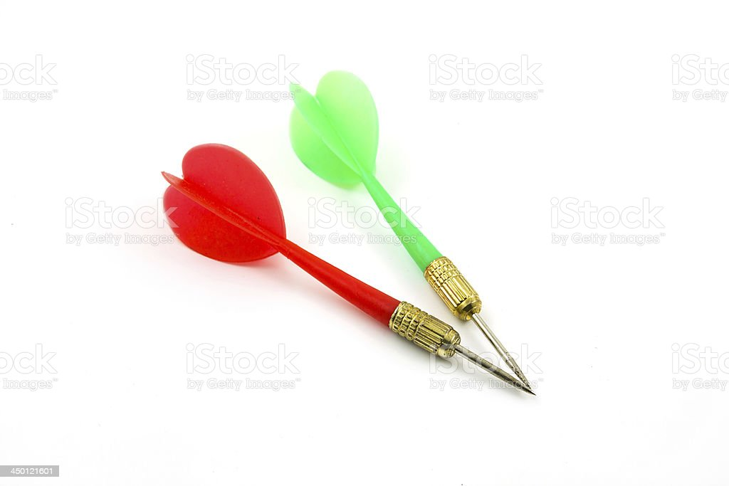 Red and Green Darts isolated royalty-free stock photo