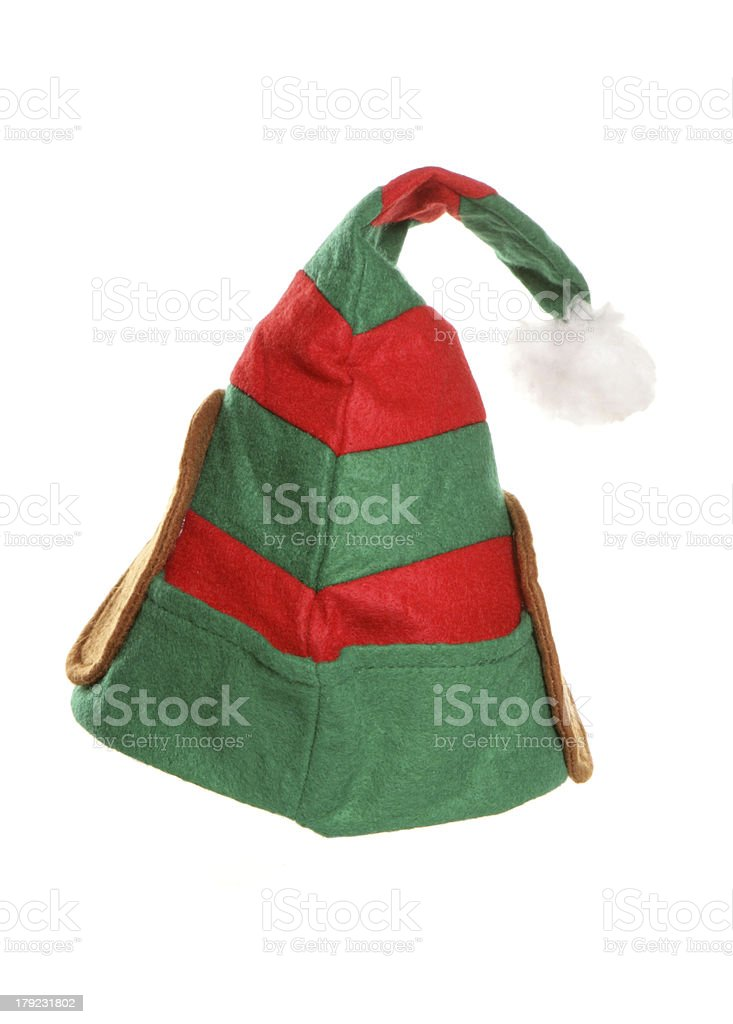 Red and green elf hat with white pom-Pom stock photo