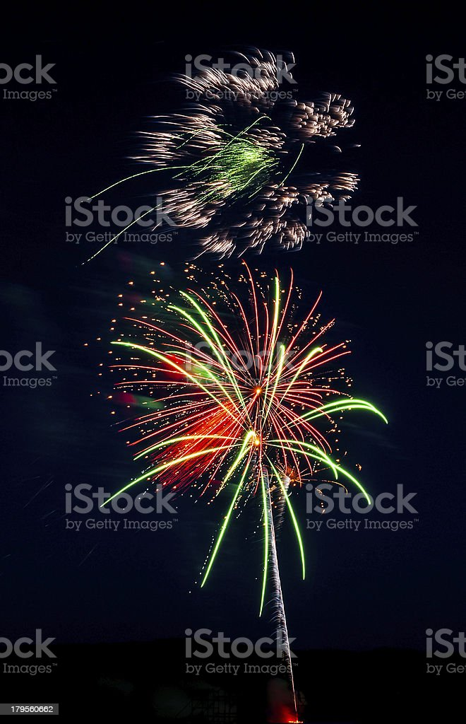 Red and Green Fireworks royalty-free stock photo