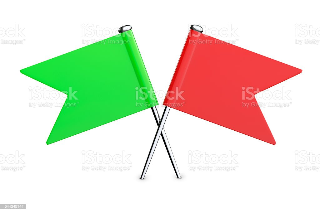 Red and Green Flag Pins. 3d Rendering stock photo