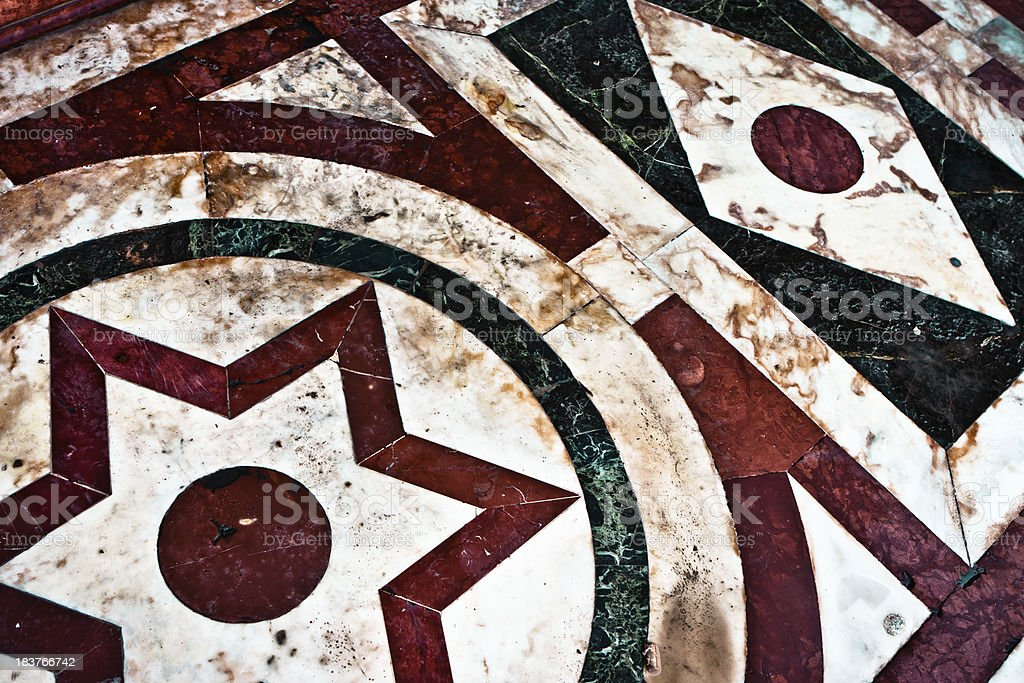 Red and Green Geometric Marbles, Italian Architecture stock photo