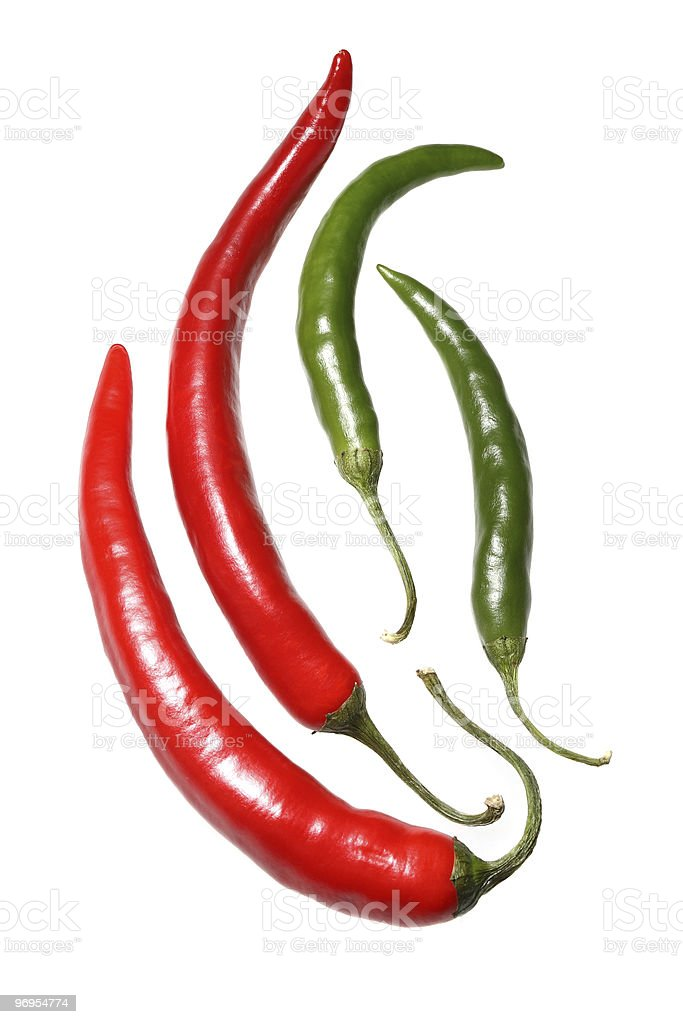 Red and Green Hot Peppers stock photo
