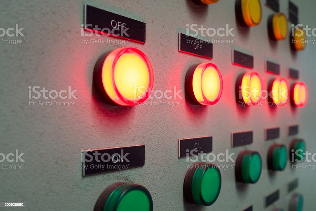 Red and green light led on electric Control Panel stock photo
