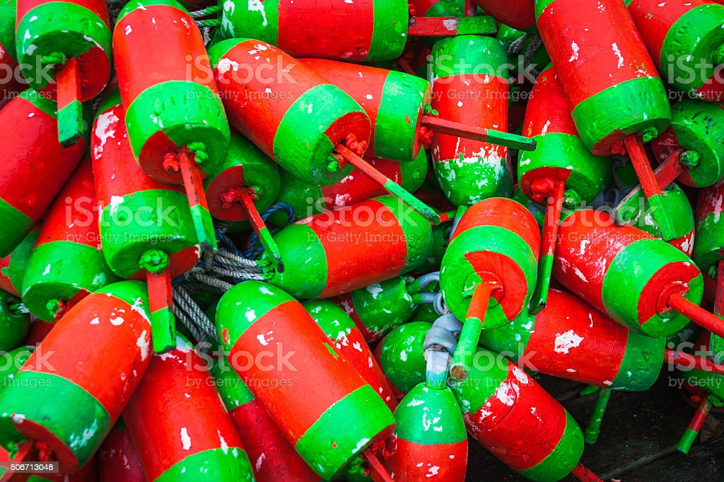 Red And Green Lobster Bouys stock photo