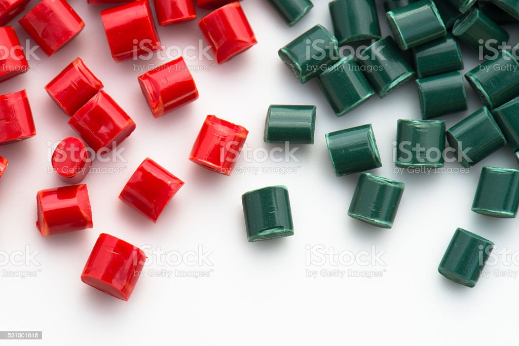 red and green polymer resin stock photo