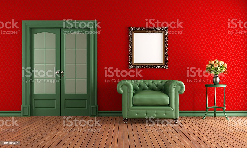 Red and green vintage room royalty-free stock photo