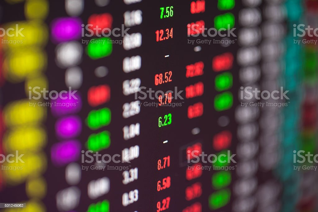 red and green white stock market data stock photo
