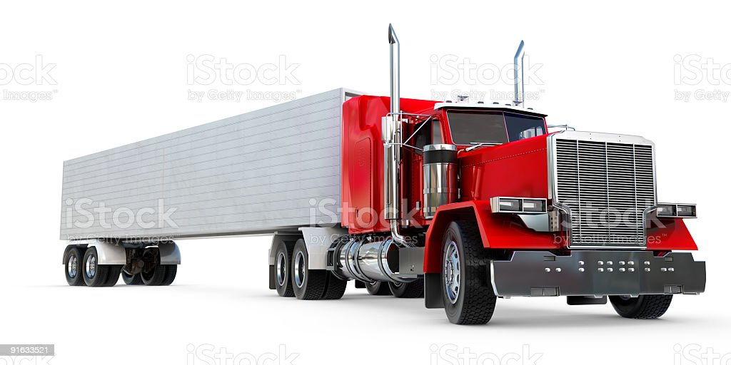 A red and grey big eighteen wheeler royalty-free stock photo