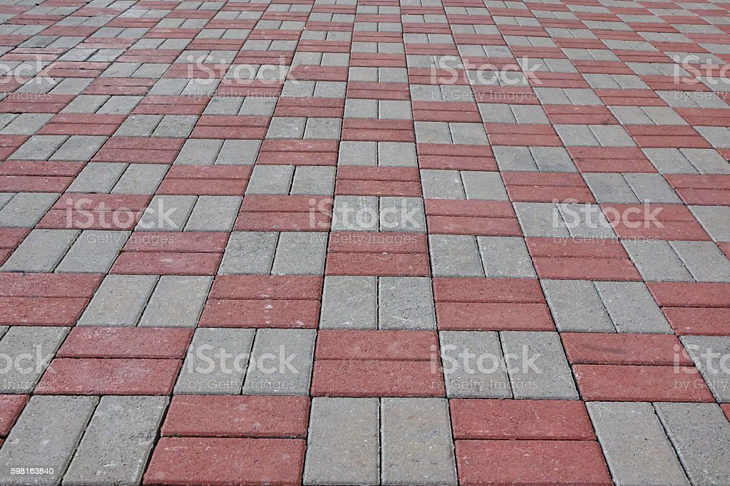 Red And Grey Cocrete Brick Or Block Paving Stone Floor stock photo
