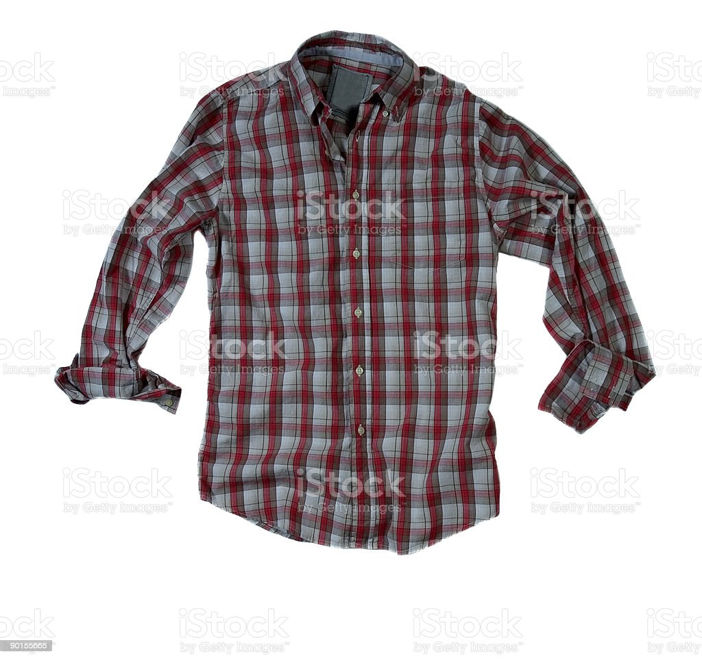 Red and Grey Plaid Shirt With Rolled-Sleeves - White Background royalty-free stock photo