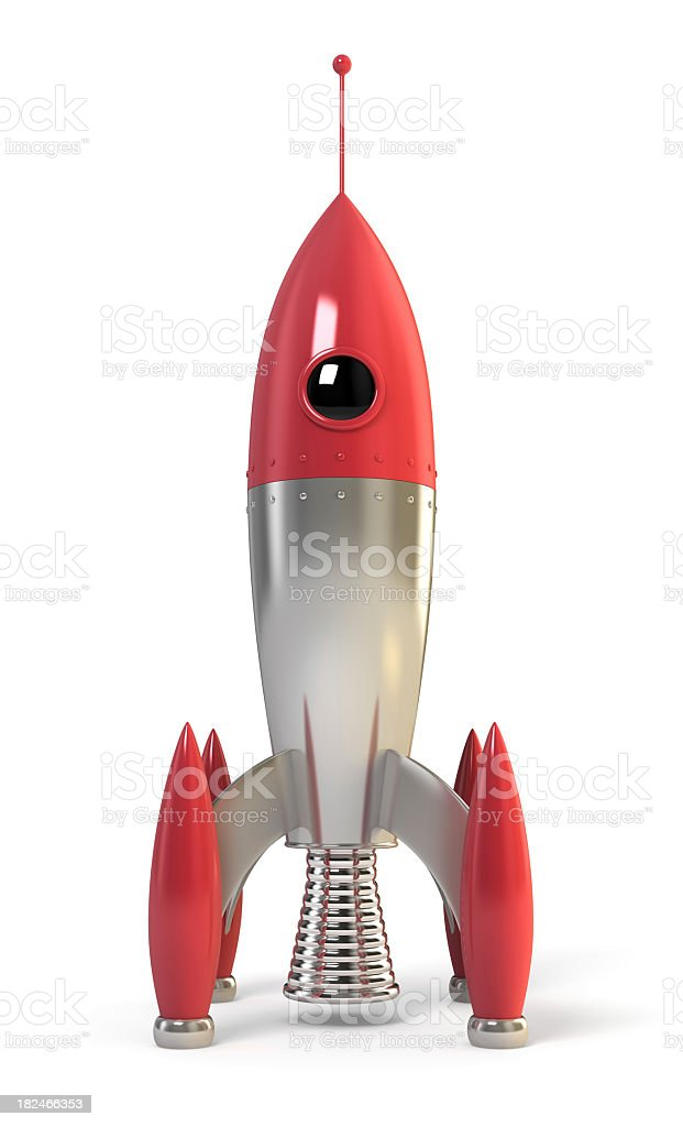 Red and metallic rocket ready for space travel stock photo