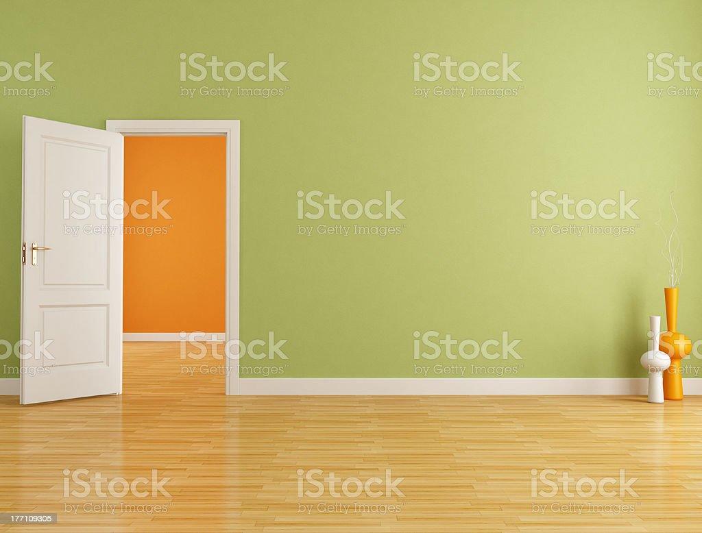 Red and orange empty interior royalty-free stock photo