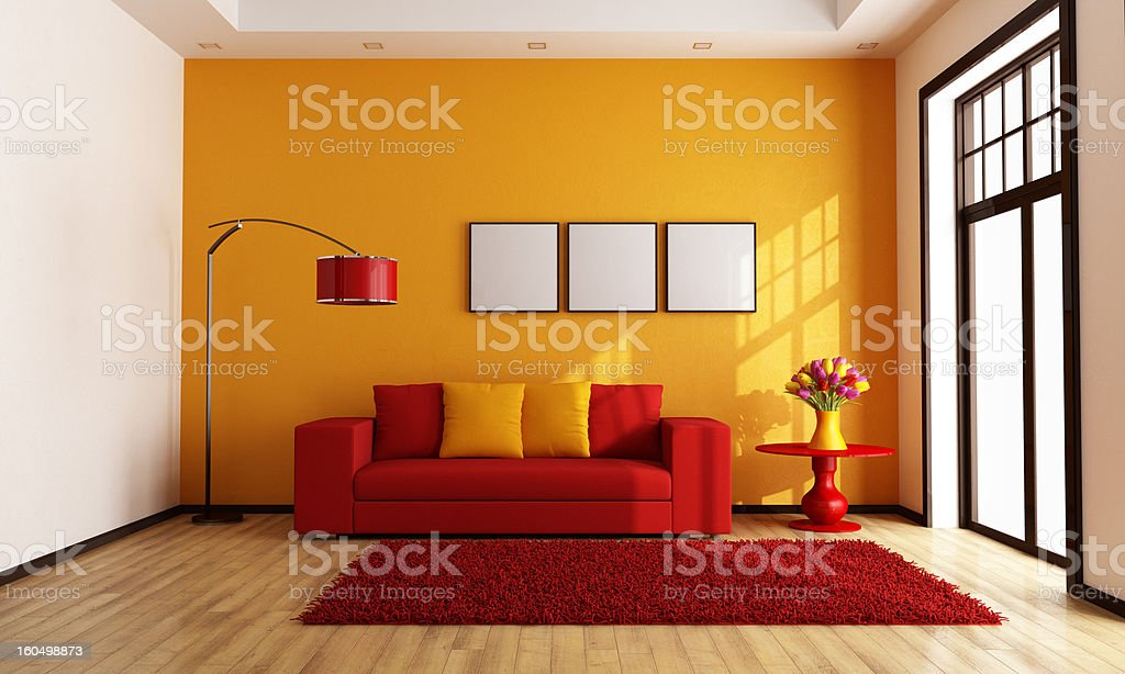Red and orange living room stock photo