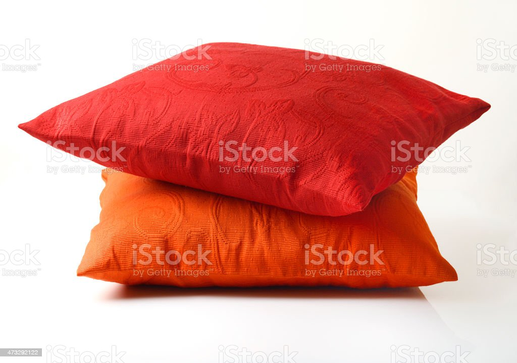 Red and Orange Pillow On White Background stock photo
