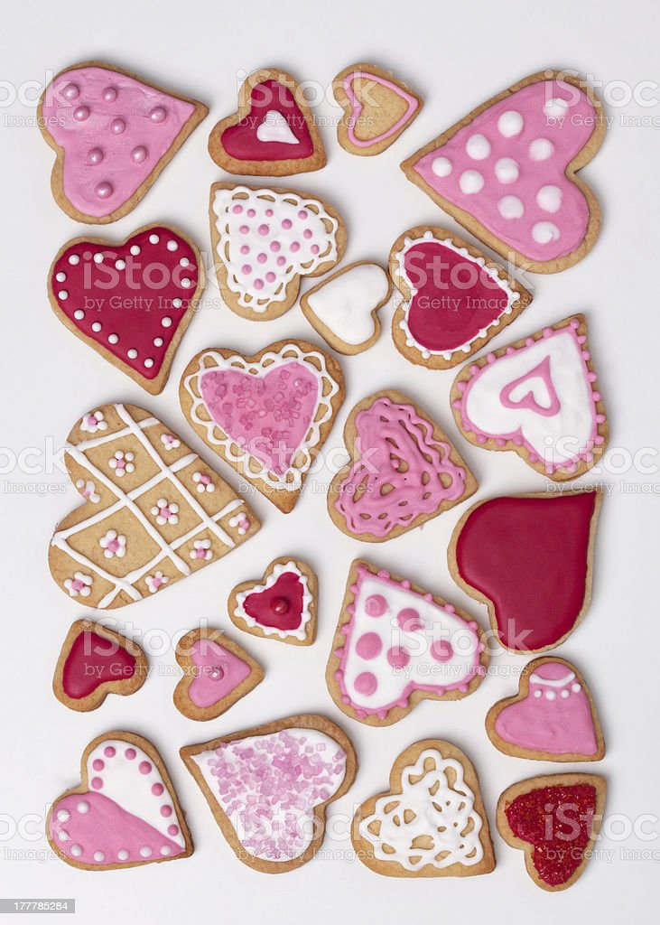 Red and pink heart cookies stock photo