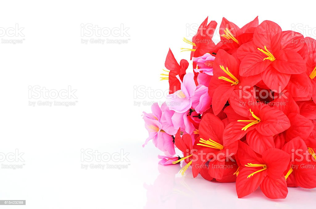 Red and pink plastic flowers Ioslated on white backgrounds stock photo