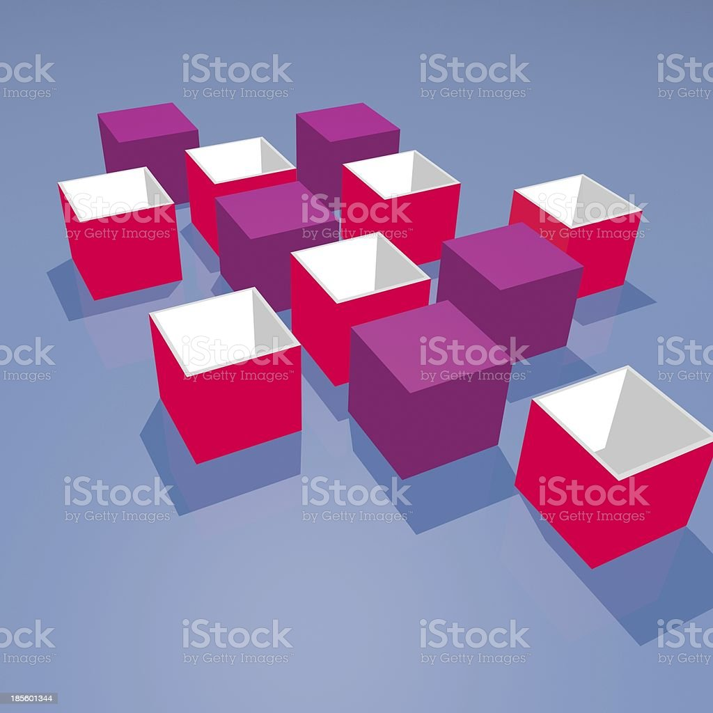 red and purple 3D box model cube background stock photo