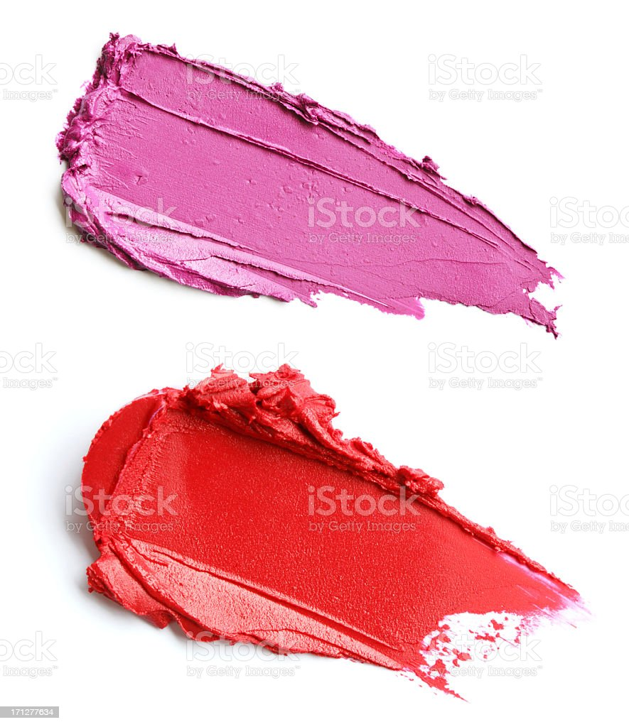 Red and purple lipstick smears stock photo