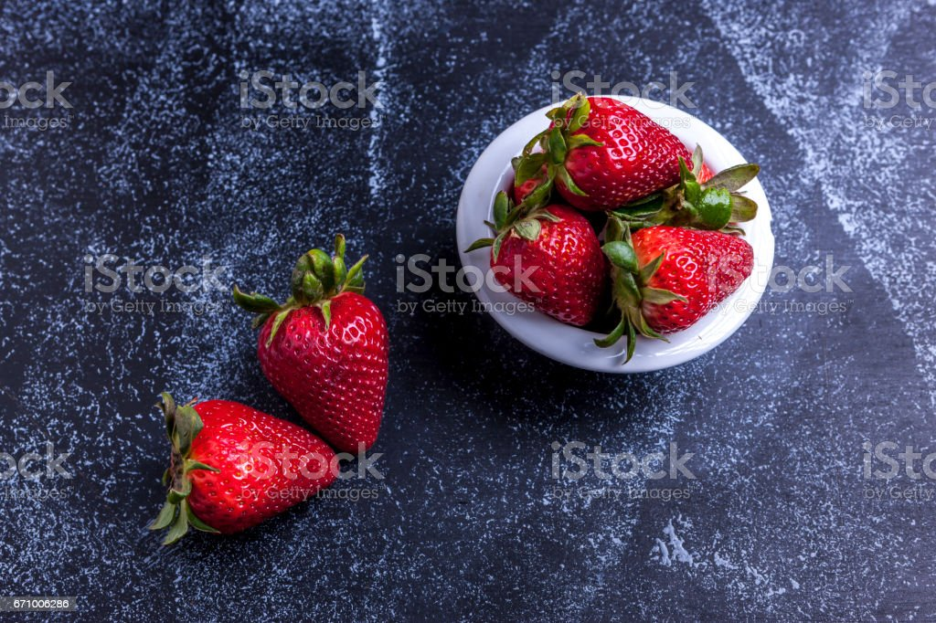 Red and ripe strawberries. stock photo