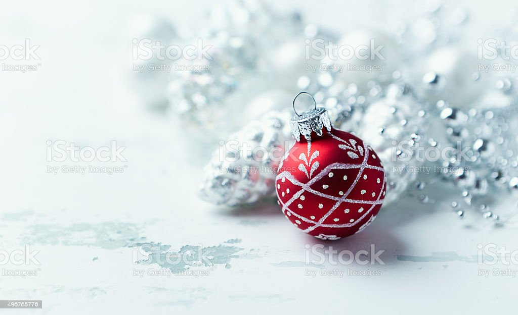 Red and silver Christmas ornaments stock photo