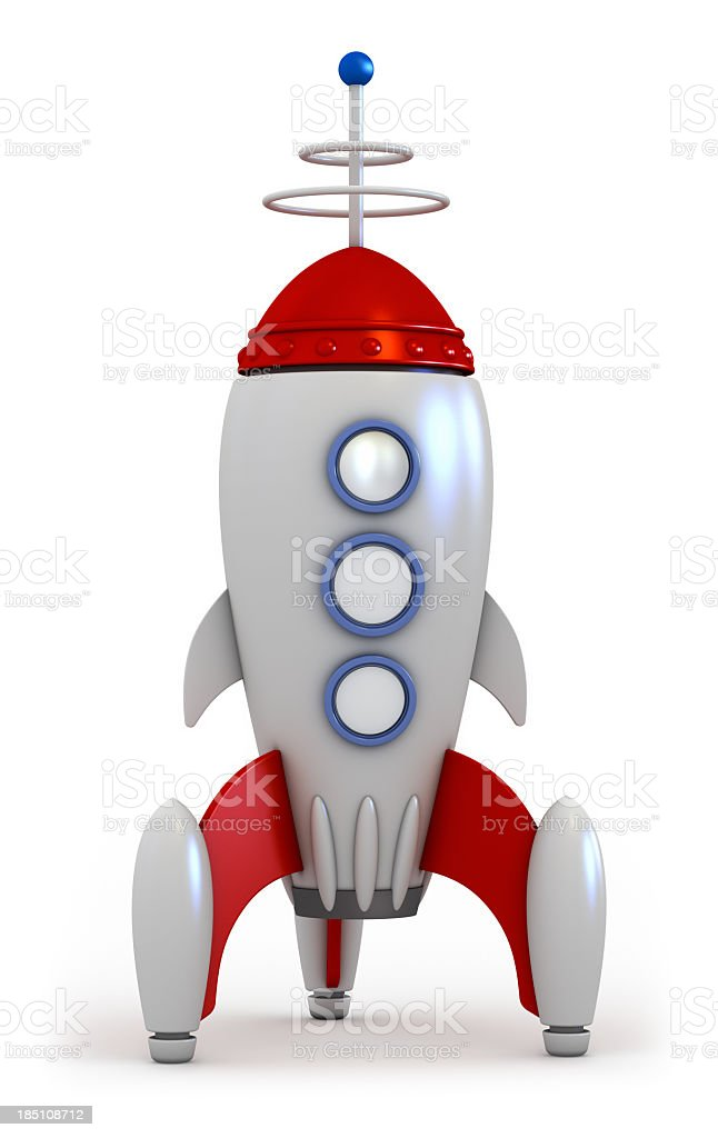 A red and silver space rocket on a white background royalty-free stock photo