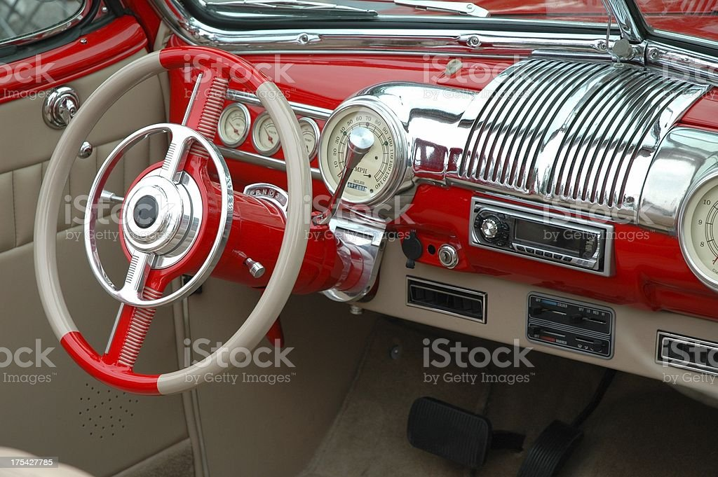 Red and Tan Interior on Classic Street Rod royalty-free stock photo