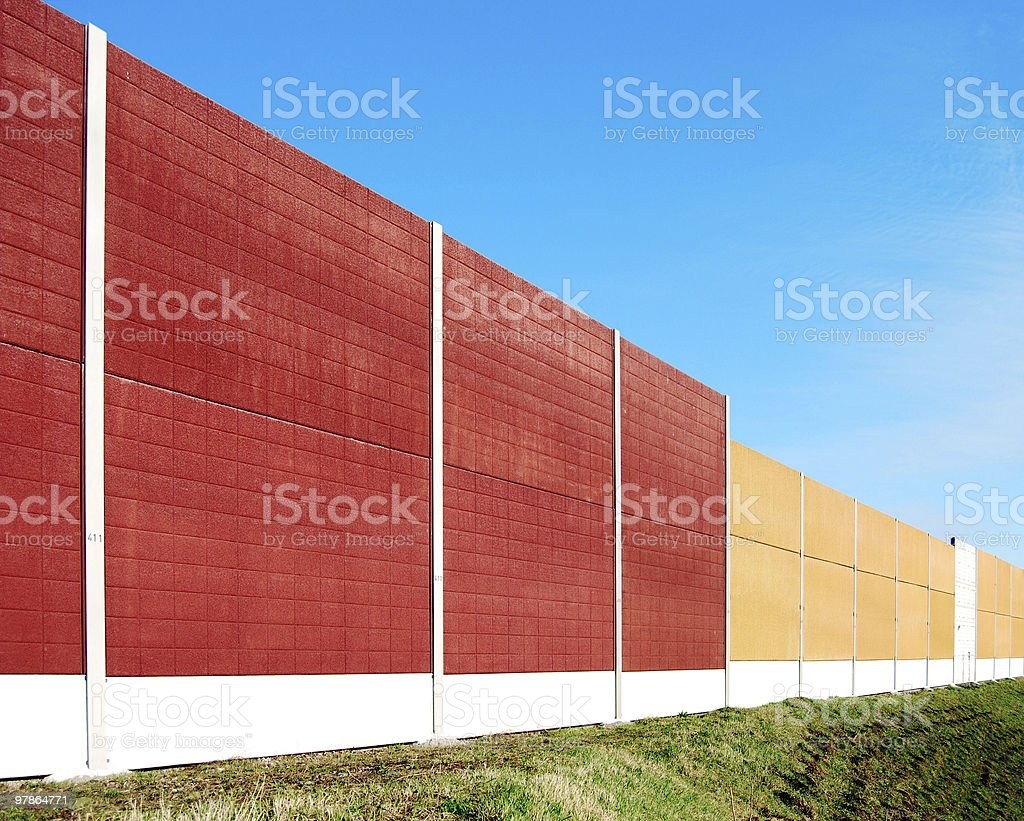 Red and Tan Wall to Block Noise royalty-free stock photo