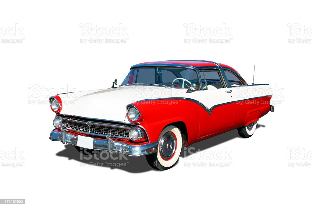 Red and white 1955 Ford Fairlane Crown Victoria vehicle stock photo