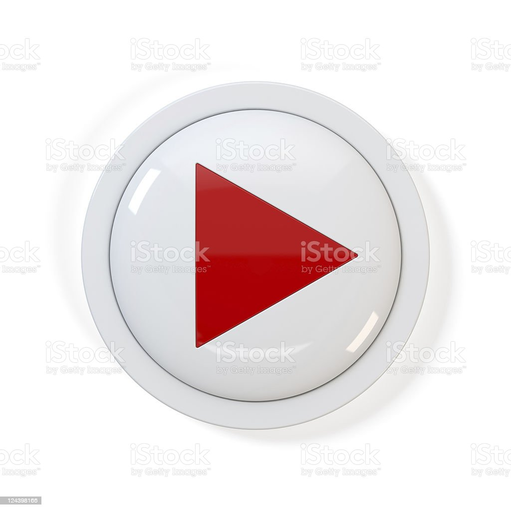 Red and white 3D play button graphic stock photo