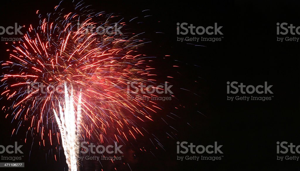 Red and white 4th of July fireworks royalty-free stock photo