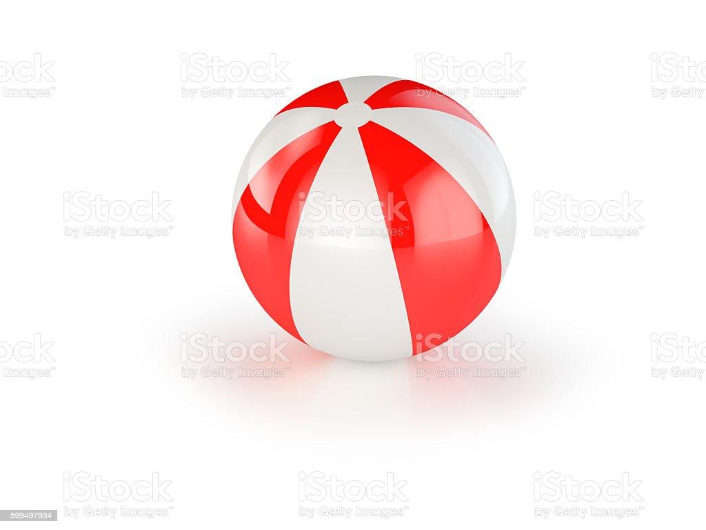 Red And White Beach Ball. stock photo