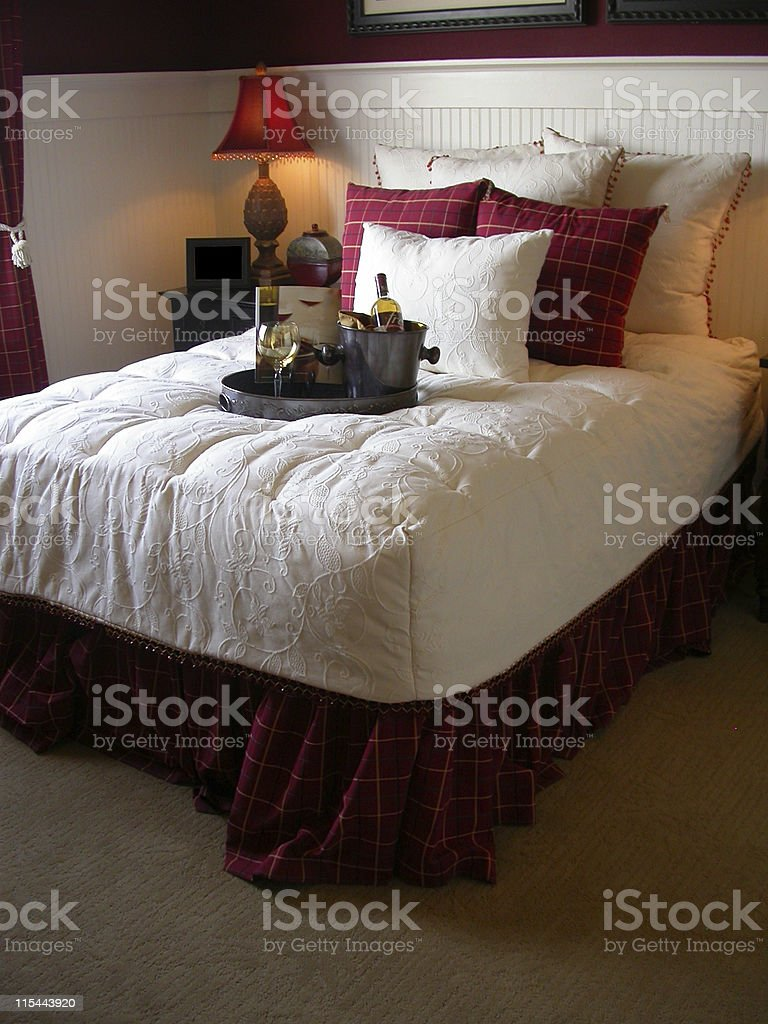 Red and White Bed stock photo