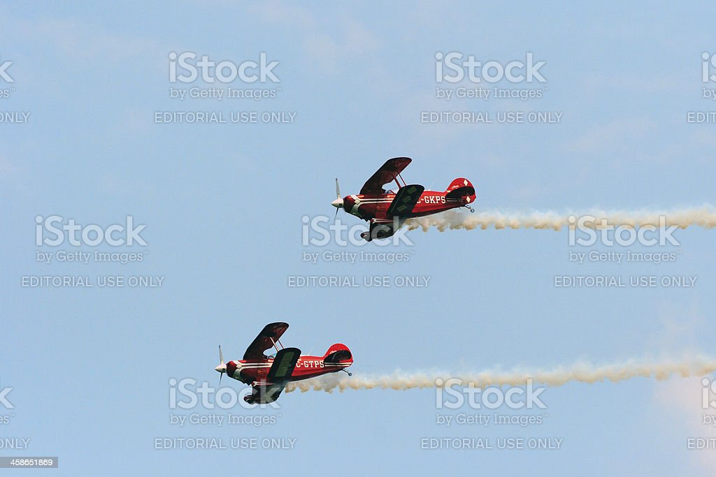 Red and White Biplanes royalty-free stock photo