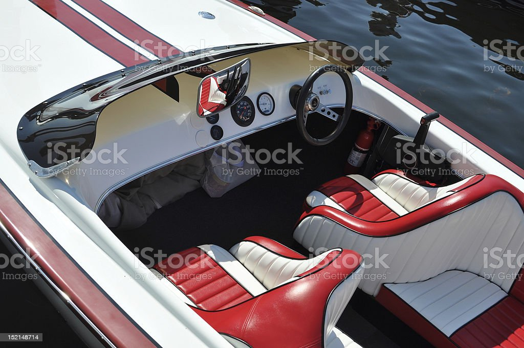 Red and white boat stock photo