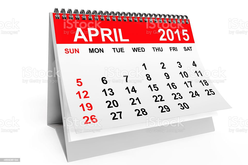 A red and white calendar for April 2015 stock photo