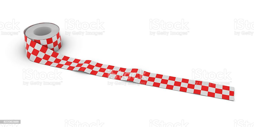 Red and White Checkered Tape Roll unrolled across white floor stock photo