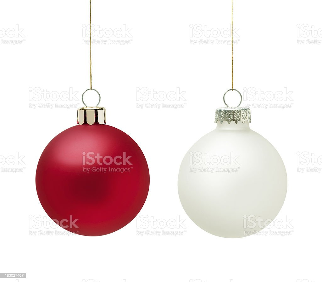 Red and white christmas balls stock photo