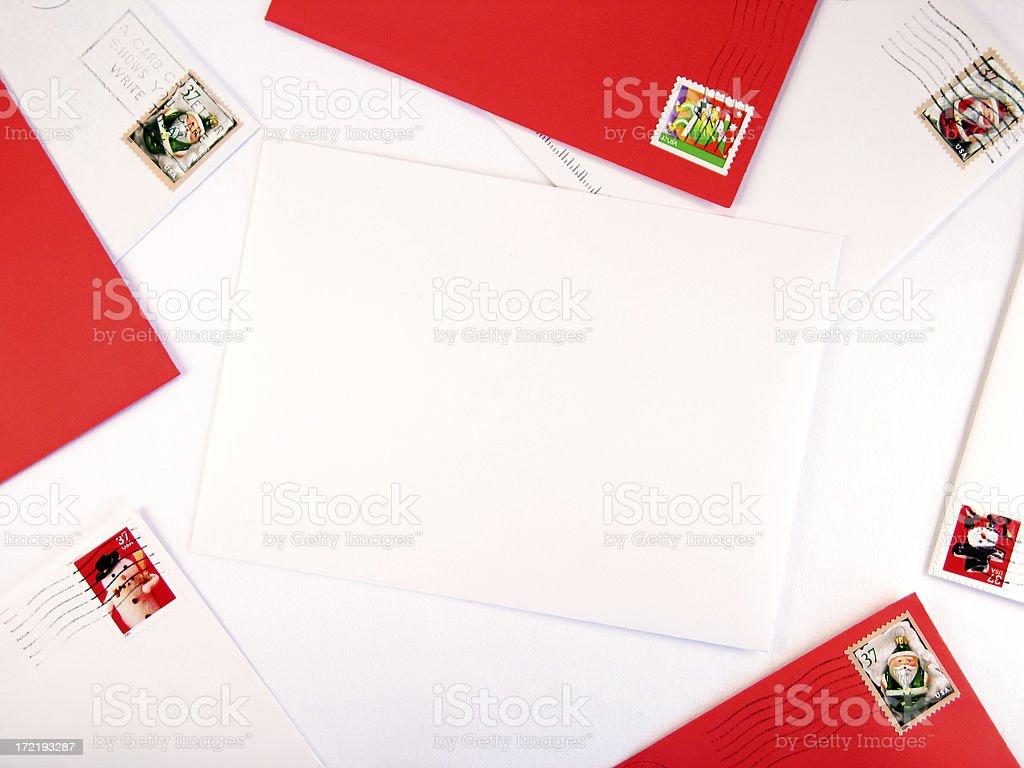 Red and White Christmas Mail Border Around a Blank Envelope stock photo