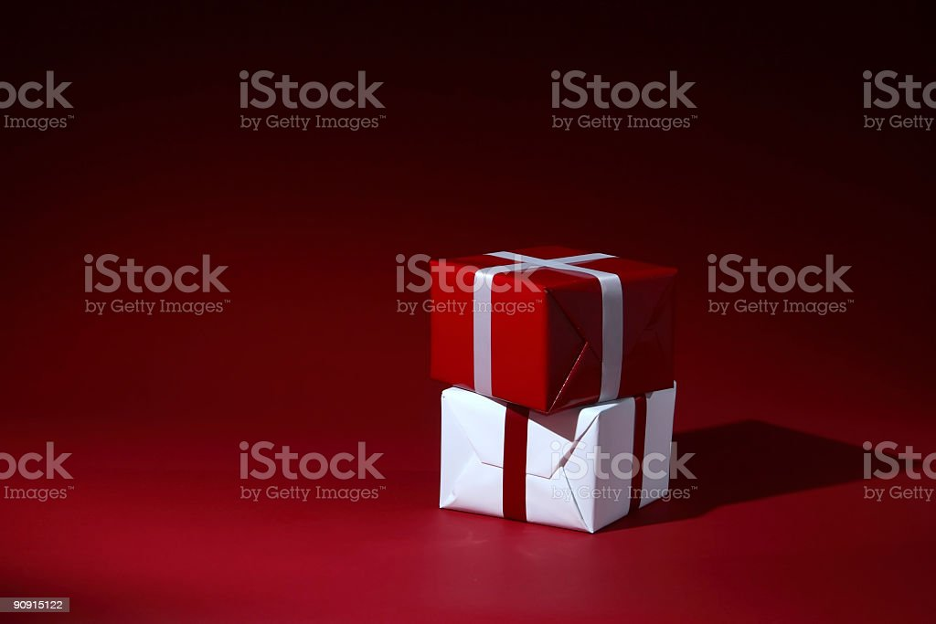 Red and White Christmas Presents royalty-free stock photo