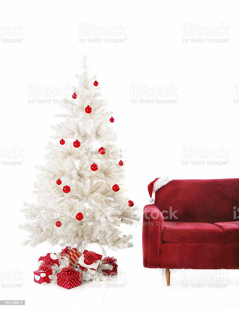 Red and white Christmas setup royalty-free stock photo